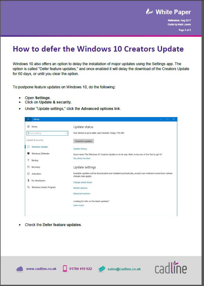 How to defer the Windows 10 Creators Update – Cadline Community