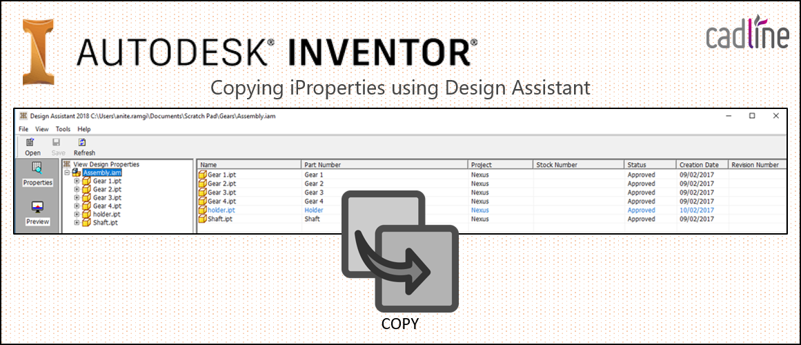 Inventor 2018: Copying iProperties using Design Assistant