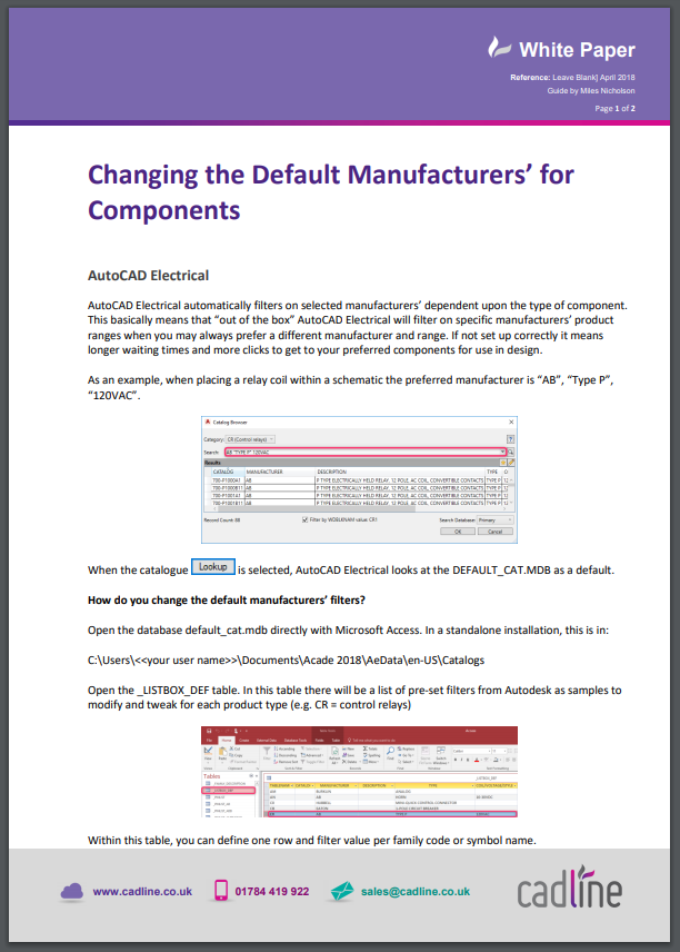 AutoCAD Electrical 2018 - Changing the Default Manufacturers\' for ...