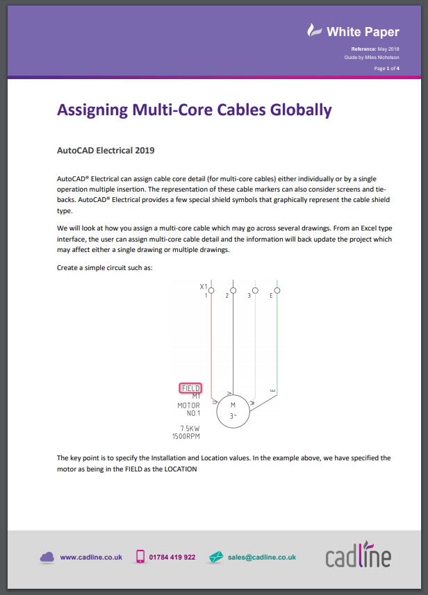 Autocad Electrical 2019 Assigning Multi Core Cables Globally