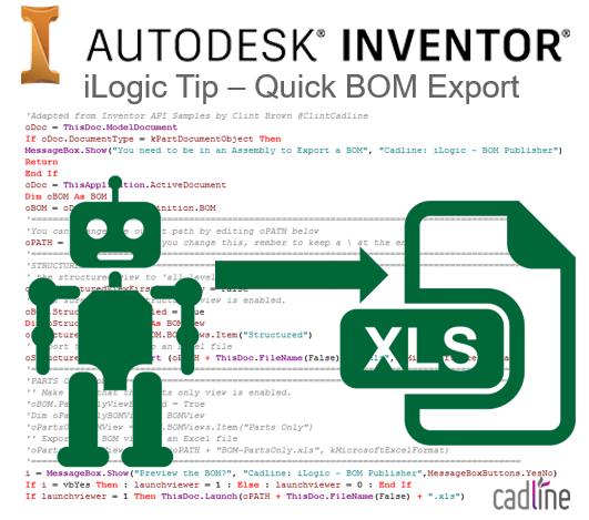 Inventor 2017 Ilogic Quick Bom Export Cadline Community