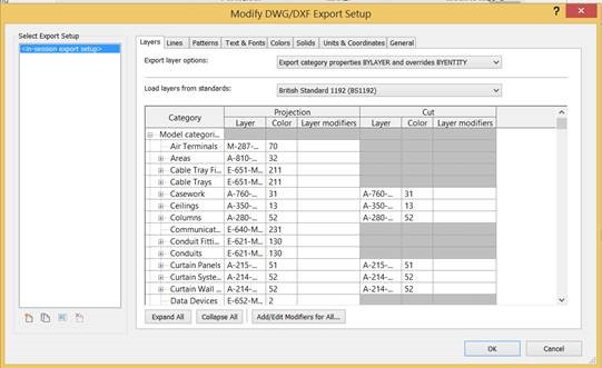 Revit 2015 Exporting to AutoCAD DWG