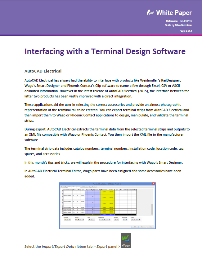 AutoCAD Electrical 2015 - Interfacing with a Terminal Design ...