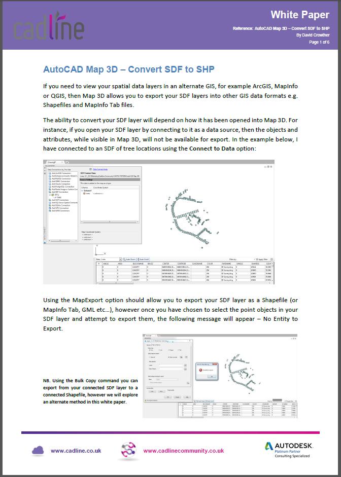 AutoCAD Map 3D – Convert SDF to SHP – Cadline Community
