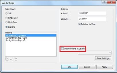 how to turn off the sun in revit render