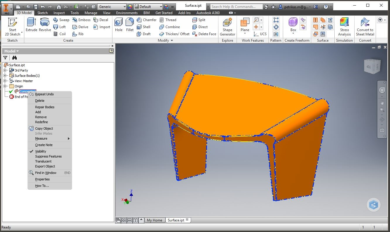 Autodesk Inventor 2016 – Converting Surfaces to Solids