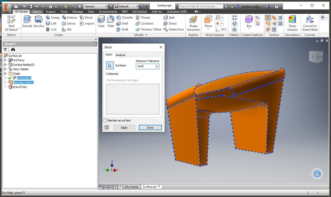 how to put a surface on an inventor part