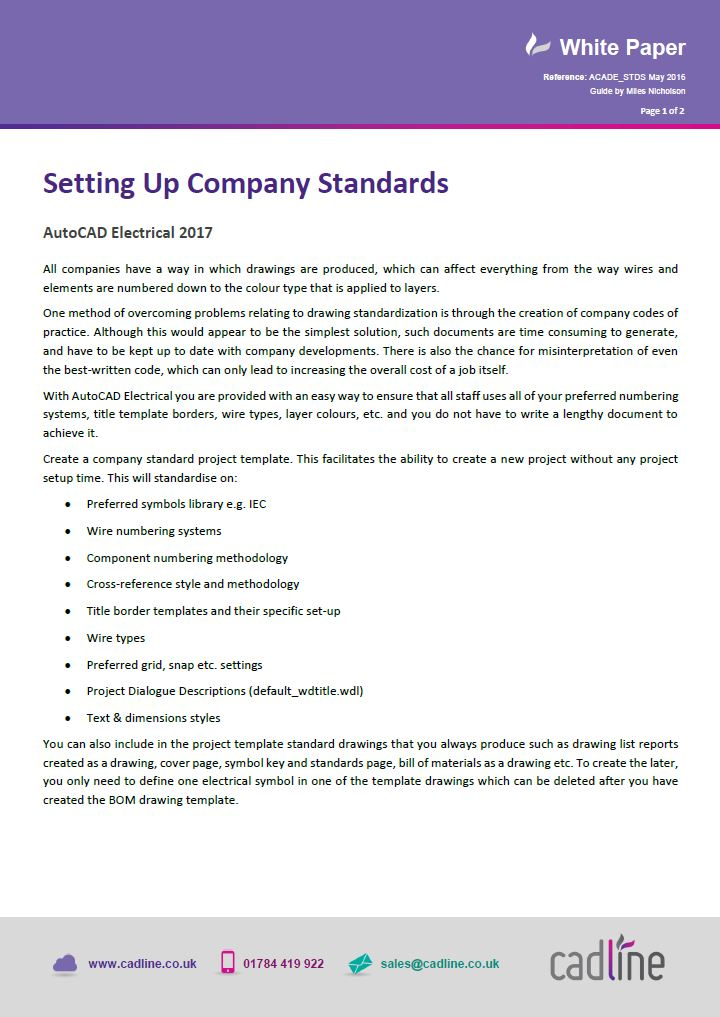 AutoCAD Electrical 2017 - Setting Up Company Standards – Cadline