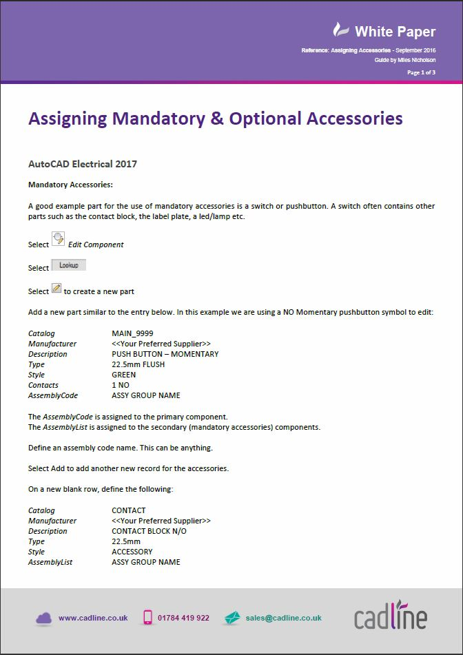 AutoCAD Electrical 2017 Assigning Mandatory Optional Accessories