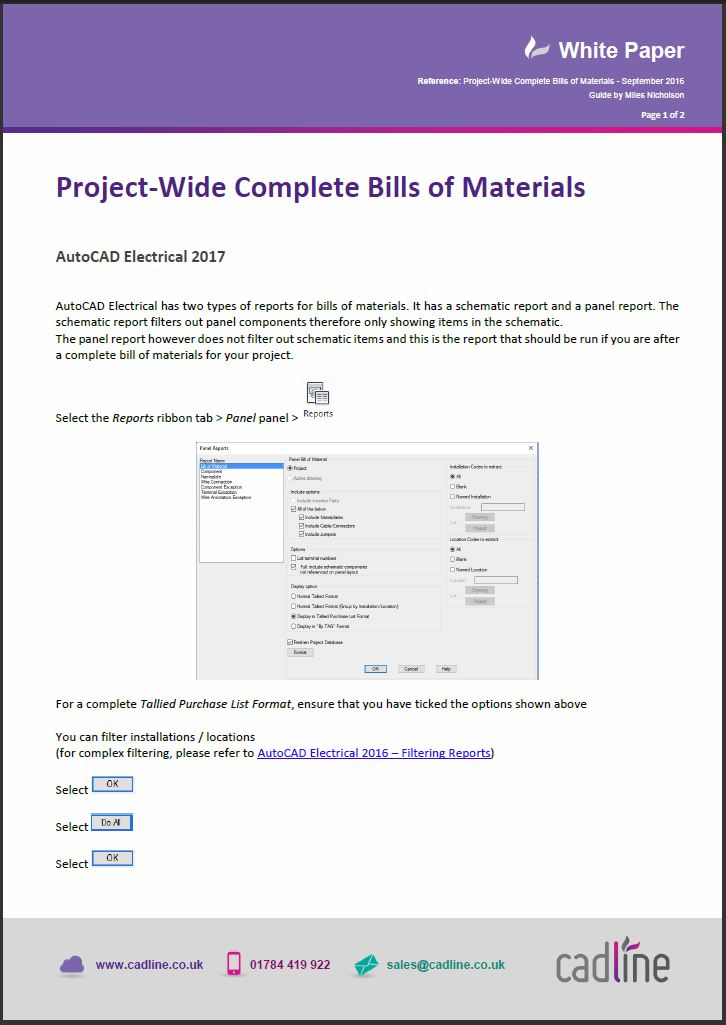 AutoCAD Electrical 2017 – Project‐Wide Complete Bills of Materials ...