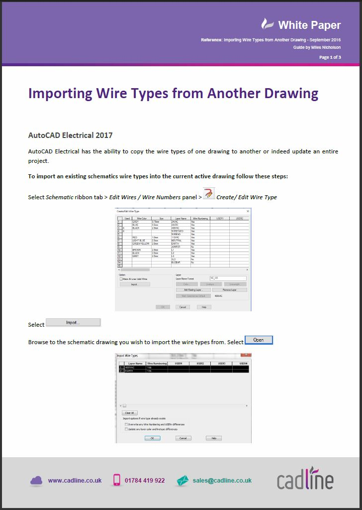 AutoCAD Electrical 2017 – Importing Wire Types From Another Drawing