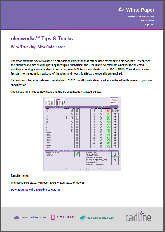 Elecworks wire trunking size calculator cadline community the calculator also factors into the equation twisting of the wires and how this affects the overall size required keyboard keysfo Image collections